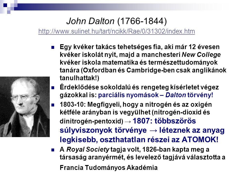 John Dalton (1766-1844) http://www.sulinet.hu/tart/ncikk/Rae/0/31302/index.htm http://www.sulinet.hu/tart/ncikk/Rae/0/31302/index.htm Egy kvéker takács tehetséges fia, aki már 12 évesen kvéker iskolát nyit, majd a manchesteri New College kvéker iskola matematika és természettudományok tanára (Oxfordban és Cambridge-ben csak anglikánok tanulhattak!) Érdeklődése sokoldalú és rengeteg kísérletet végez gázokkal is: parciális nyomások – Dalton törvény.