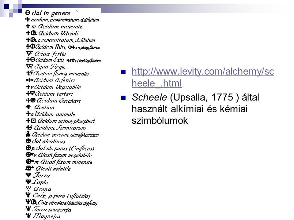 http://www.levity.com/alchemy/sc heele_.html http://www.levity.com/alchemy/sc heele_.html Scheele (Upsalla, 1775 ) által használt alkímiai és kémiai szimbólumok