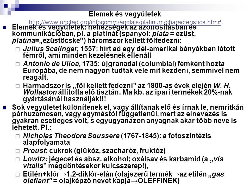 Elemek és vegyületek http://www.unctad.org/infocomm/anglais/platinum/characteristics.htm# http://www.unctad.org/infocomm/anglais/platinum/characteristics.htm# Elemek és vegyületek: nehézségek az azonosításban és kommunikációban, pl.