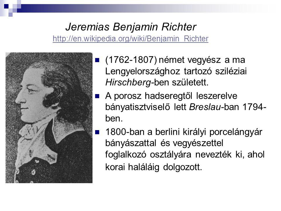 Jeremias Benjamin Richter http://en.wikipedia.org/wiki/Benjamin_Richter http://en.wikipedia.org/wiki/Benjamin_Richter (1762-1807) német vegyész a ma Lengyelországhoz tartozó sziléziai Hirschberg-ben született.