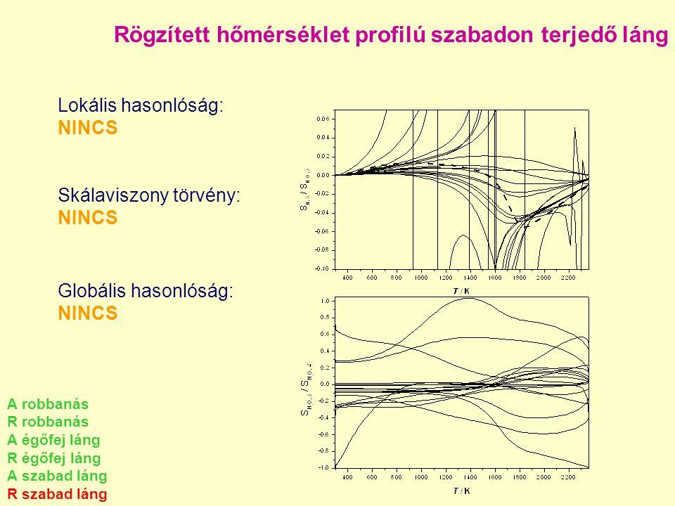 Rögzített hőmérséklet profilú szabadon terjedő láng Lokális hasonlóság: NINCS Skálaviszony törvény: NINCS Globális hasonlóság: NINCS A robbanás R robb