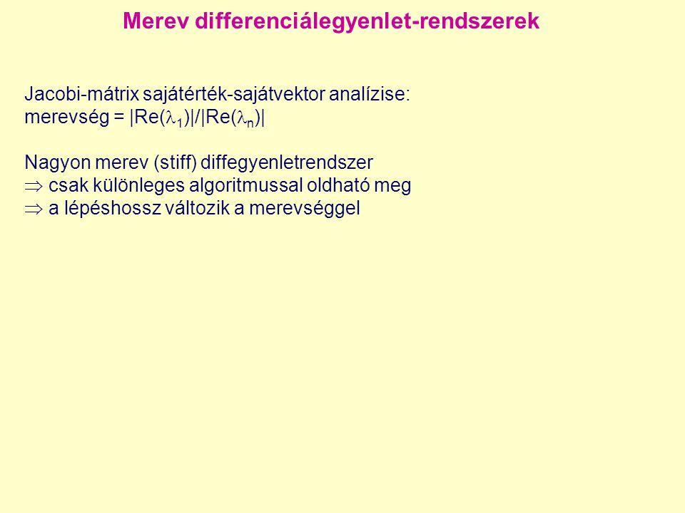 Merev differenciálegyenlet-rendszerek Jacobi-mátrix sajátérték-sajátvektor analízise: merevség = |Re( 1 )|/|Re( n )| Nagyon merev (stiff) diffegyenlet
