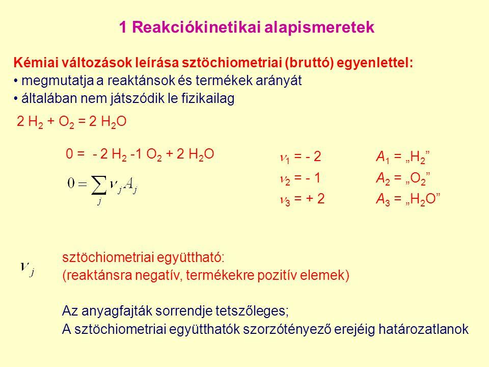1 Reakciókinetikai alapismeretek 2 H 2 + O 2 = 2 H 2 O 0 = - 2 H 2 -1 O 2 + 2 H 2 O Kémiai változások leírása sztöchiometriai (bruttó) egyenlettel: me