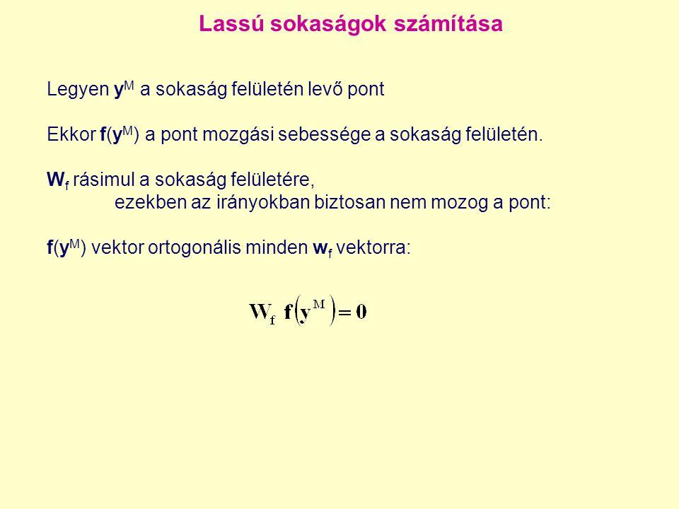 Lassú sokaságok számítása Legyen y M a sokaság felületén levő pont Ekkor f(y M ) a pont mozgási sebessége a sokaság felületén. W f rásimul a sokaság f