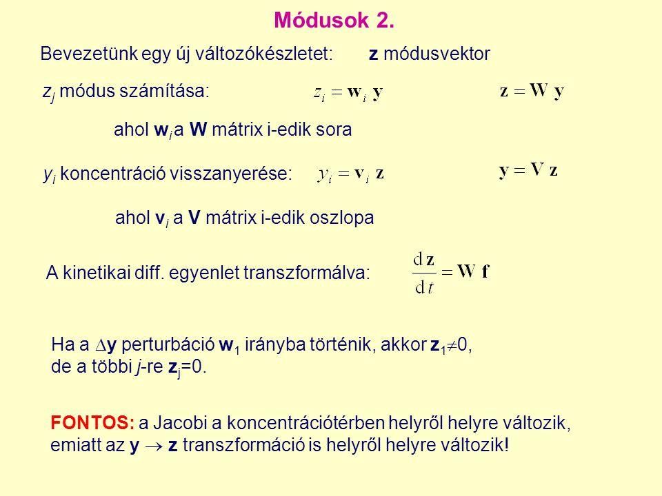 Ha a  y perturbáció w 1 irányba történik, akkor z 1  0, de a többi j-re z j =0. Módusok 2. z j módus számítása: y i koncentráció visszanyerése: A ki