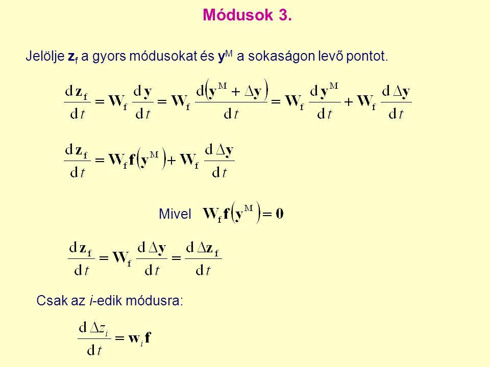 Csak az i-edik módusra: Módusok 3. Mivel Jelölje z f a gyors módusokat és y M a sokaságon levő pontot.
