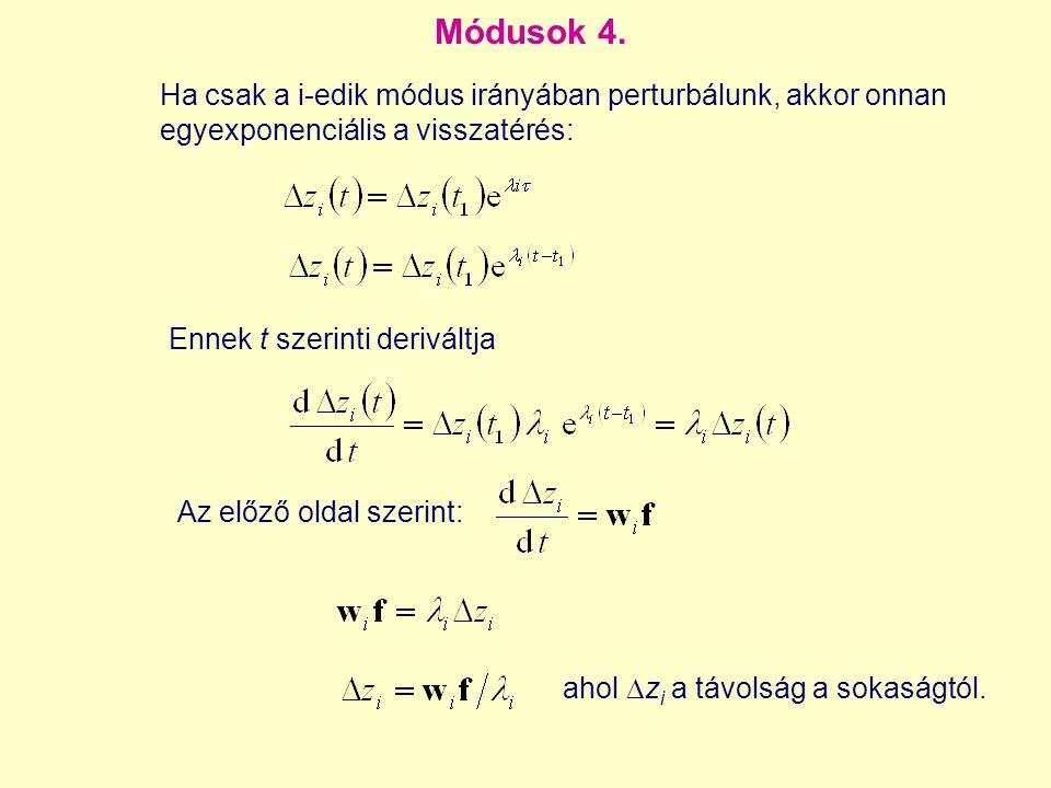 Módusok 4. Az előző oldal szerint: Ha csak a i-edik módus irányában perturbálunk, akkor onnan egyexponenciális a visszatérés: Ennek t szerinti derivál