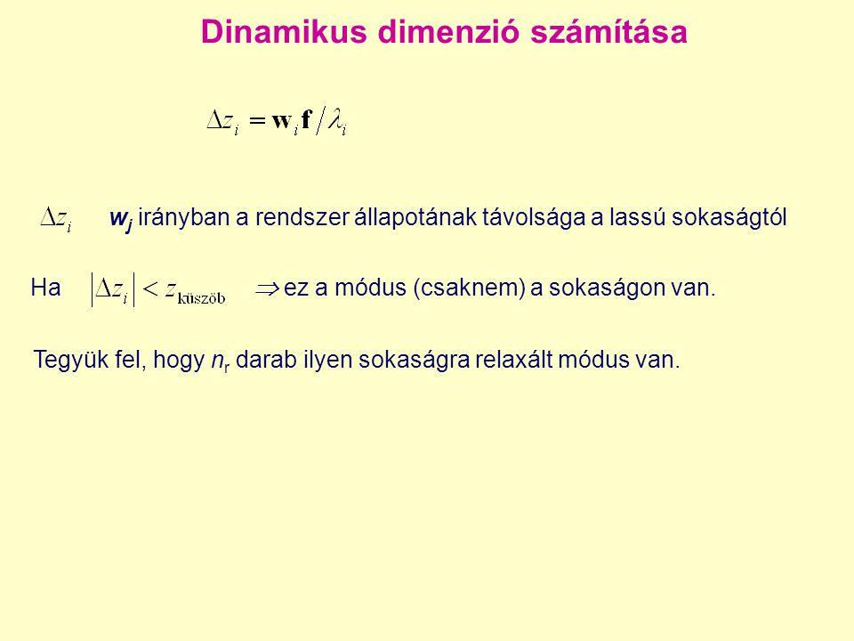 Dinamikus dimenzió számítása w j irányban a rendszer állapotának távolsága a lassú sokaságtól Ha  ez a módus (csaknem) a sokaságon van. Tegyük fel, h