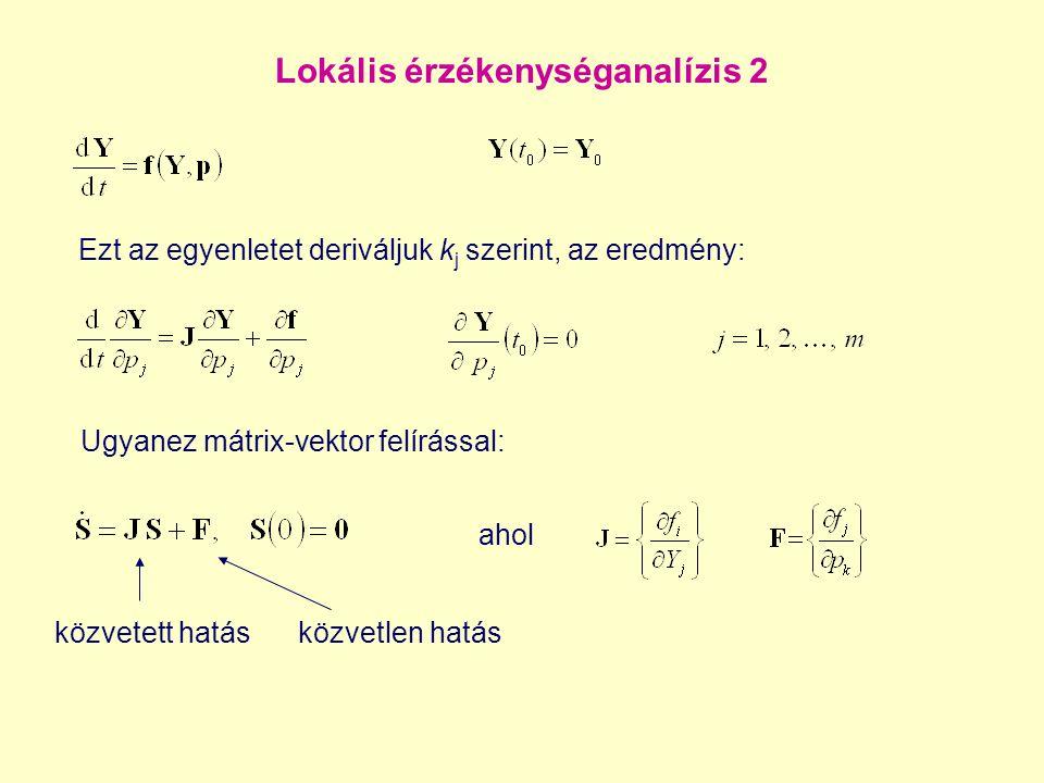 Lokális érzékenységanalízis 2 Ugyanez mátrix-vektor felírással: ahol közvetett hatásközvetlen hatás Ezt az egyenletet deriváljuk k j szerint, az eredm