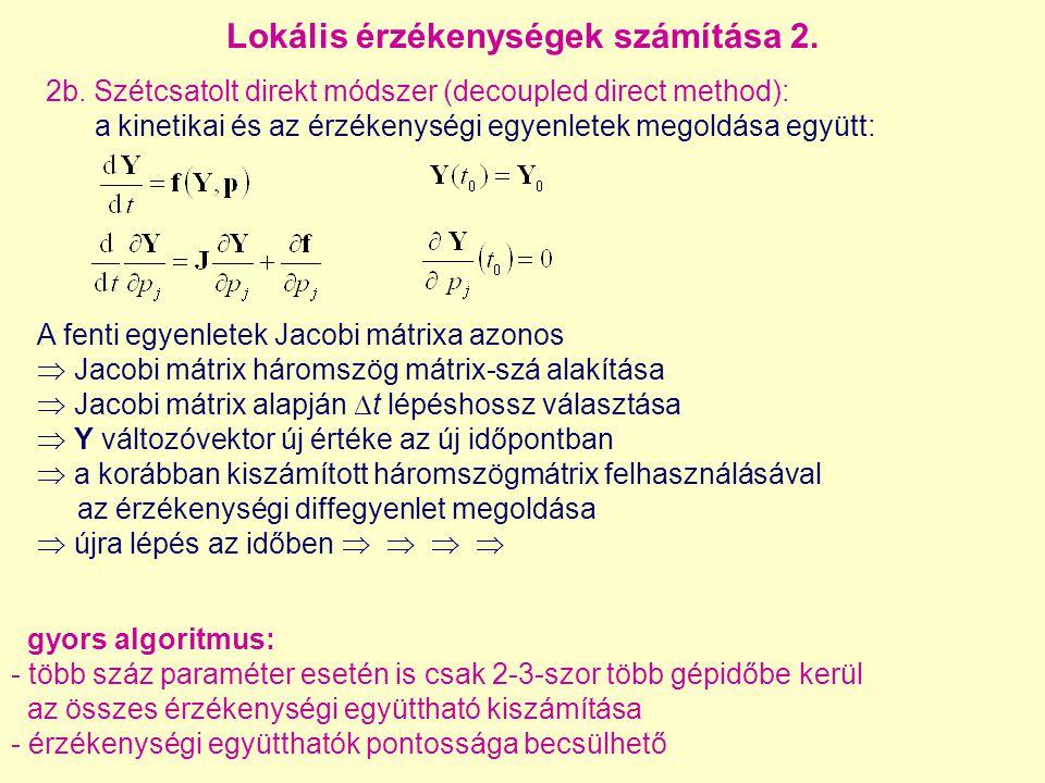 A fenti egyenletek Jacobi mátrixa azonos  Jacobi mátrix háromszög mátrix-szá alakítása  Jacobi mátrix alapján  t lépéshossz választása  Y változóv
