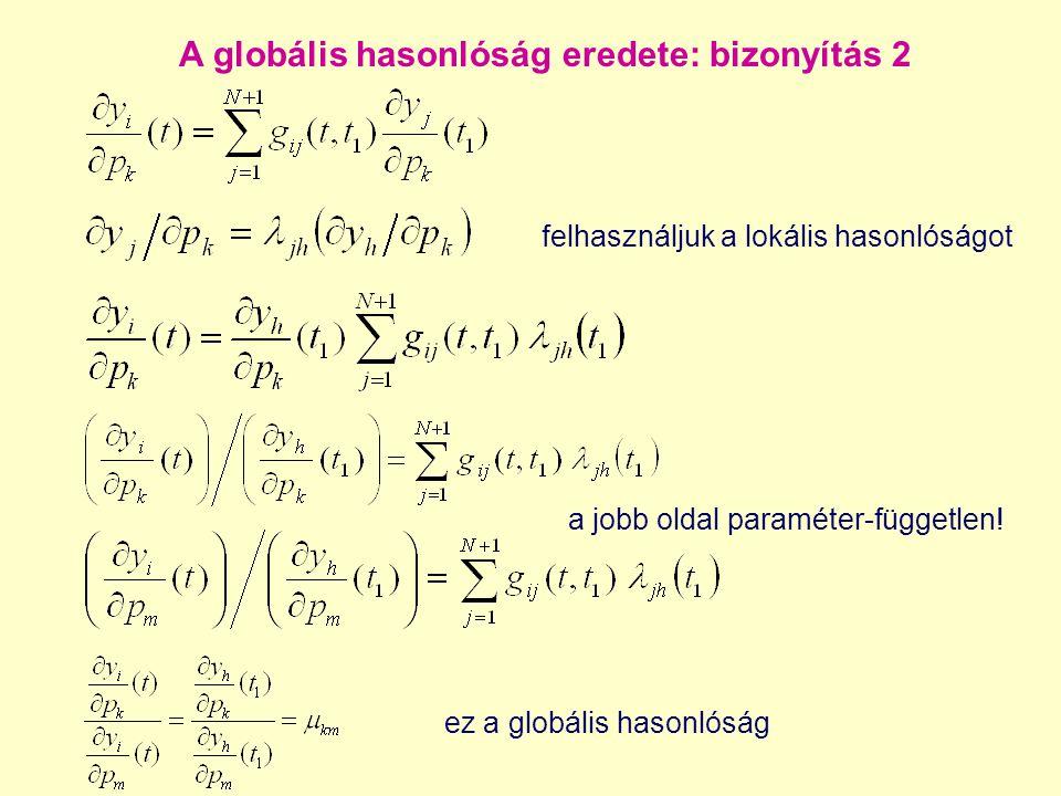 A globális hasonlóság eredete: bizonyítás 2 felhasználjuk a lokális hasonlóságot a jobb oldal paraméter-független! ez a globális hasonlóság