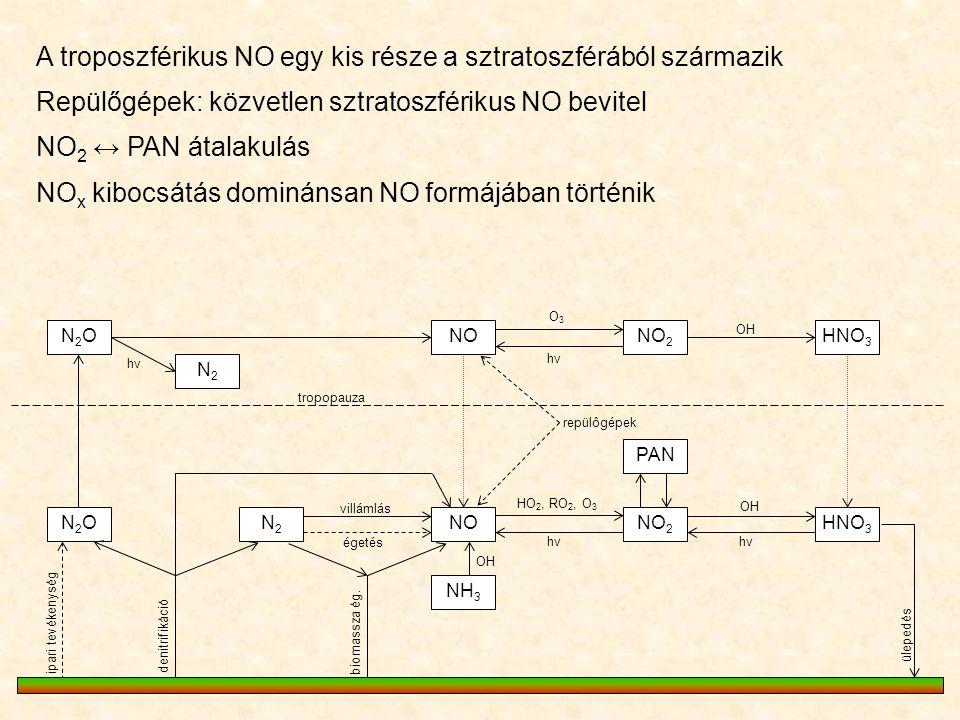 A troposzférikus NO egy kis része a sztratoszférából származik N2ON2ONONO 2 HNO 3 PAN NO 2 NOHNO 3 N2ON2ON2N2 NH 3 N2N2 O3O3 hνhν hνhν OH repülôgépek