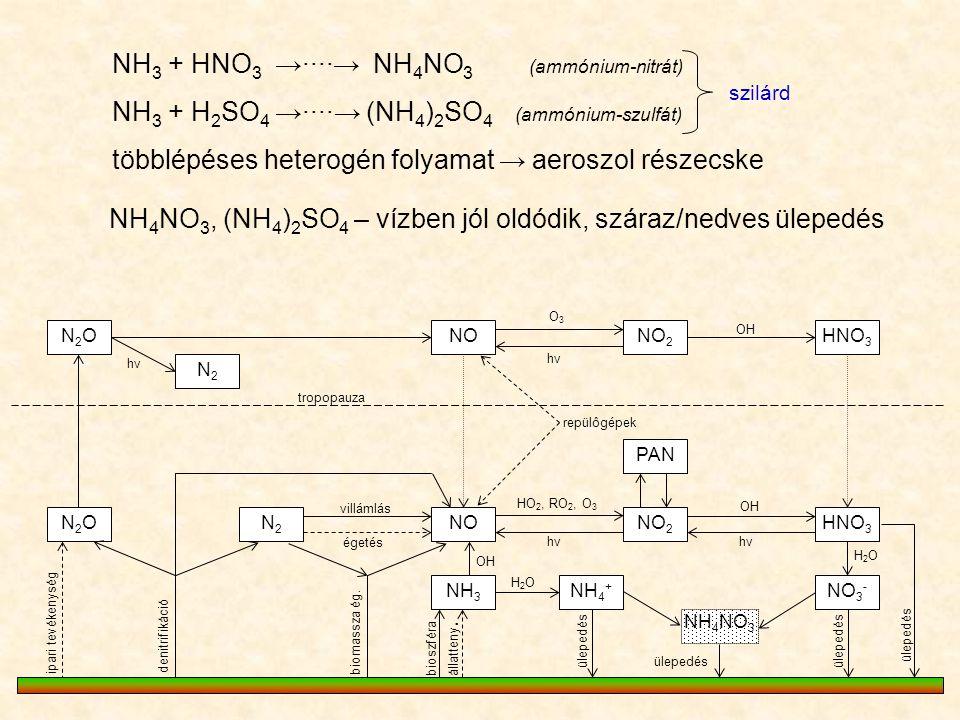 N2ON2ONONO 2 HNO 3 PAN NO 2 NOHNO 3 N2ON2ON2N2 NH 3 N2N2 O3O3 hνhν hνhν OH repülôgépek villámlás égetés HO 2, RO 2, O 3 hνhν OH denitrifikáció ipari t