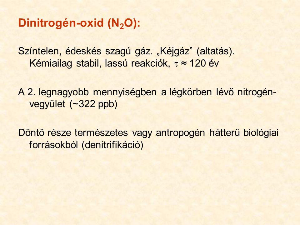 """Dinitrogén-oxid (N 2 O): Színtelen, édeskés szagú gáz. """"Kéjgáz"""" (altatás). Kémiailag stabil, lassú reakciók,  ≈ 120 év A 2. legnagyobb mennyiségben a"""