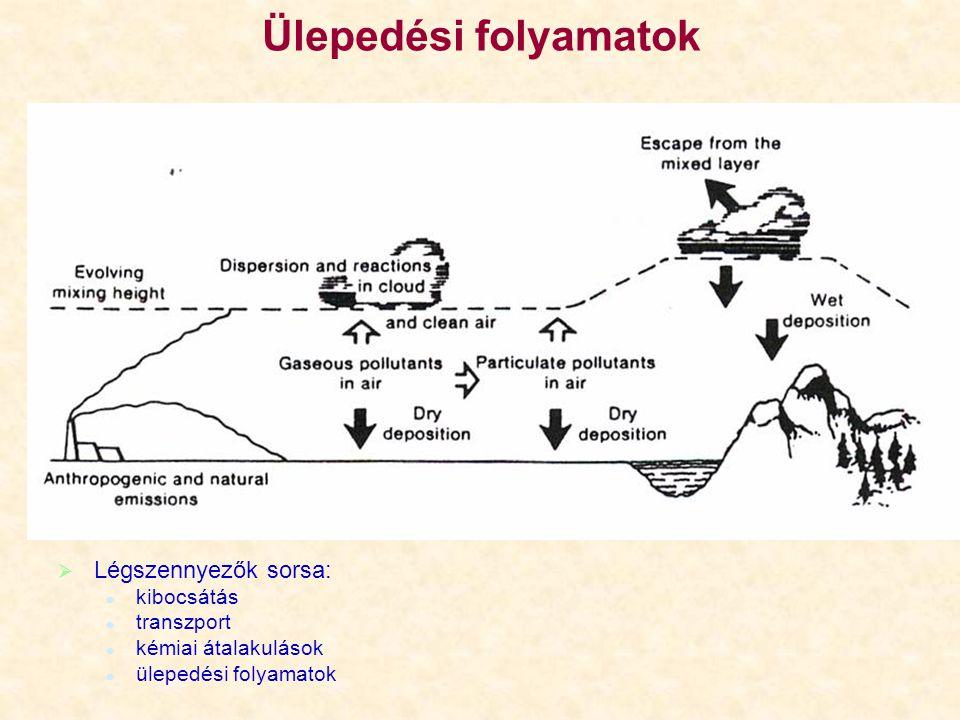 Kimosódási együttható (példa) A vizsgált gáz tömege (mol): M 0 = M f(olyadékban) + M g(áz) A felhő térfogata (m 3 ): V c Egyesített gáztörvényből: Henry-törvényből: Víztartalom megadása általában g/m 3 -ben: gáz parciális nyomásavíz tömeg molsúly