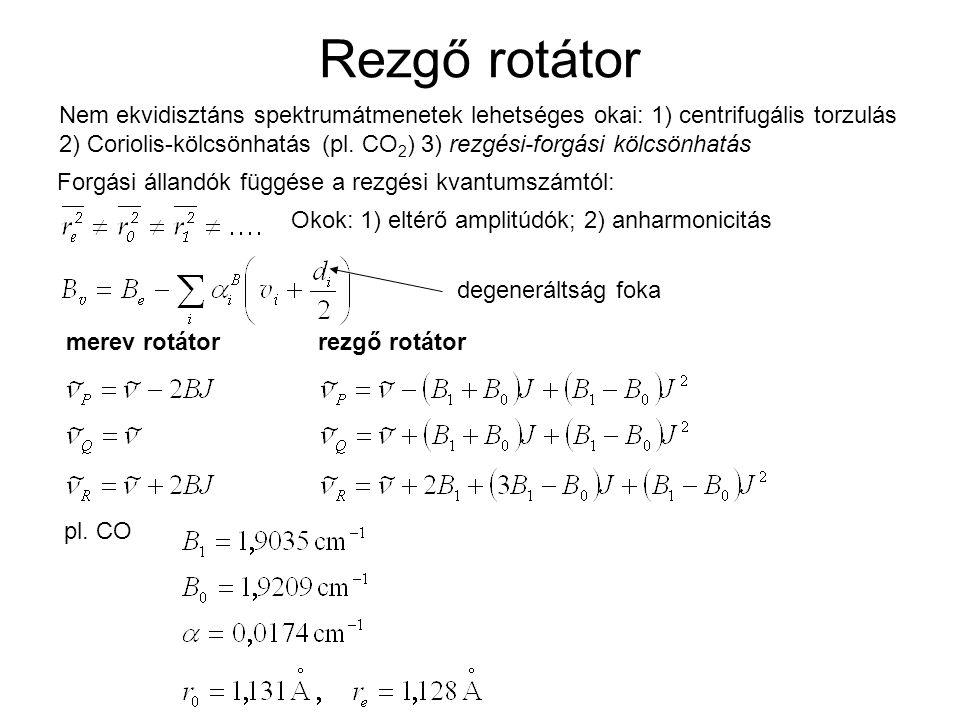 Rezgő rotátor Forgási állandók függése a rezgési kvantumszámtól: Okok: 1) eltérő amplitúdók; 2) anharmonicitás degeneráltság foka merev rotátor rezgő