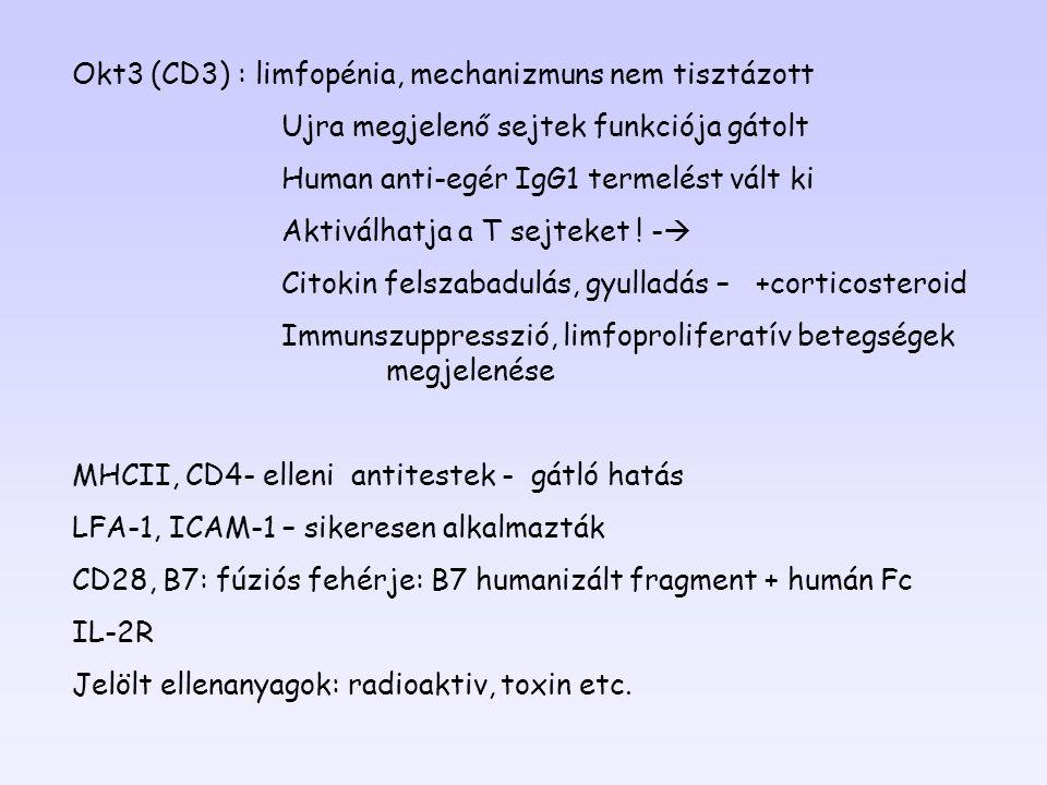 Okt3 (CD3) : limfopénia, mechanizmuns nem tisztázott Ujra megjelenő sejtek funkciója gátolt Human anti-egér IgG1 termelést vált ki Aktiválhatja a T se