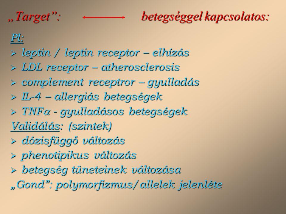 """""""Target"""": betegséggel kapcsolatos: Pl:  leptin / leptin receptor – elhízás  LDL receptor – atherosclerosis  complement receptror – gyulladás  IL-4"""