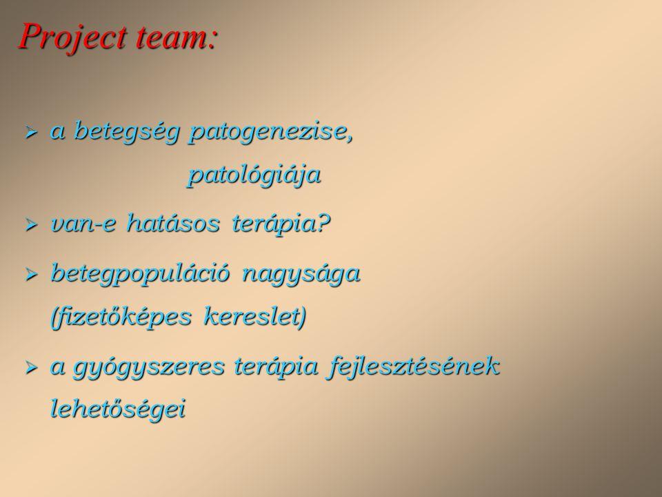 Project team:  a betegség patogenezise, patológiája  van-e hatásos terápia?  betegpopuláció nagysága (fizetőképes kereslet)  a gyógyszeres terápia