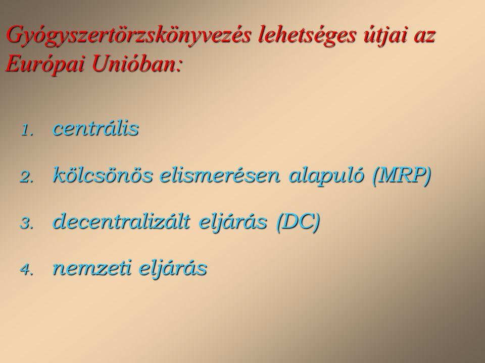 Gyógyszertörzskönyvezés lehetséges útjai az Európai Unióban: 1. centrális 2. kölcsönös elismerésen alapuló (MRP) 3. decentralizált eljárás (DC) 4. nem
