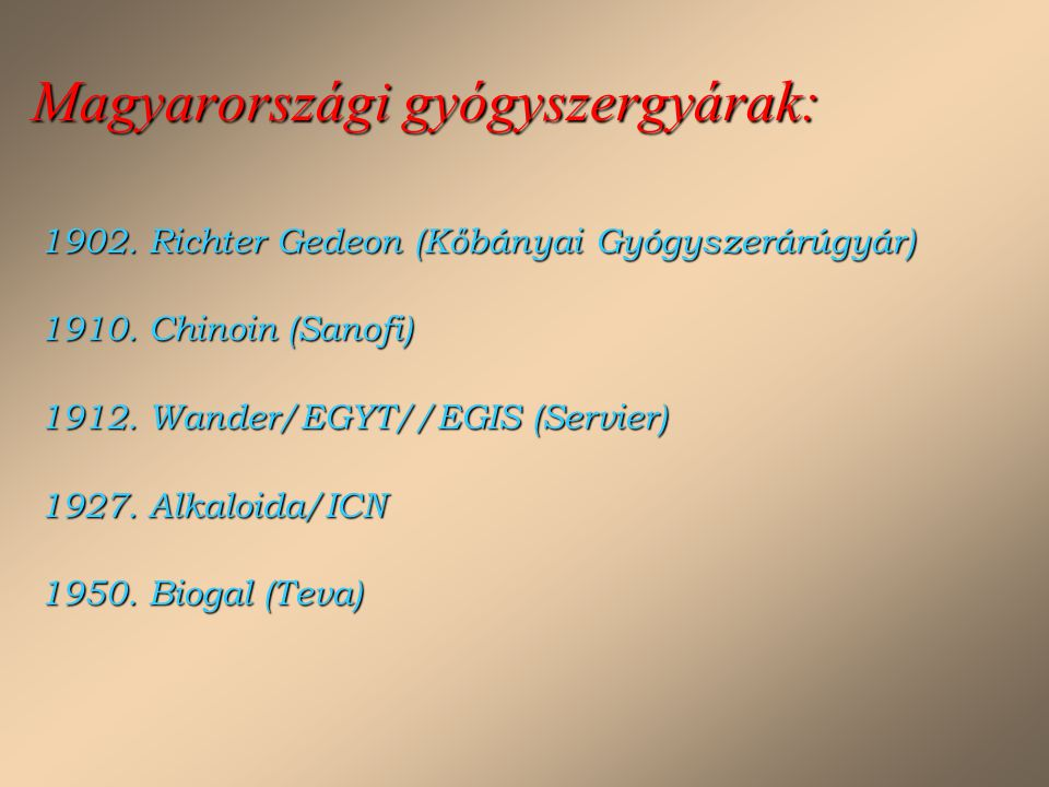 Magyarországi gyógyszergyárak: 1902. Richter Gedeon (Kőbányai Gyógyszerárúgyár) 1910. Chinoin (Sanofi) 1912. Wander/EGYT//EGIS (Servier) 1927. Alkaloi