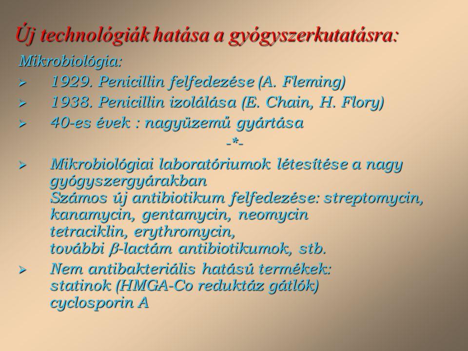 Új technológiák hatása a gyógyszerkutatásra: Mikrobiológia:  1929. Penicillin felfedezése (A. Fleming)  1938. Penicillin izolálása (E. Chain, H. Flo