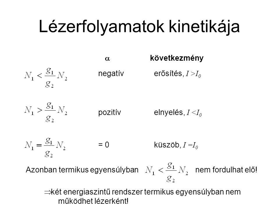 Lézerfolyamatok kinetikája  következmény negatíverősítés, I >I 0 pozitívelnyelés, I <I 0 = 0küszöb, I =I 0 Azonban termikus egyensúlyban nem fordulhat elő.