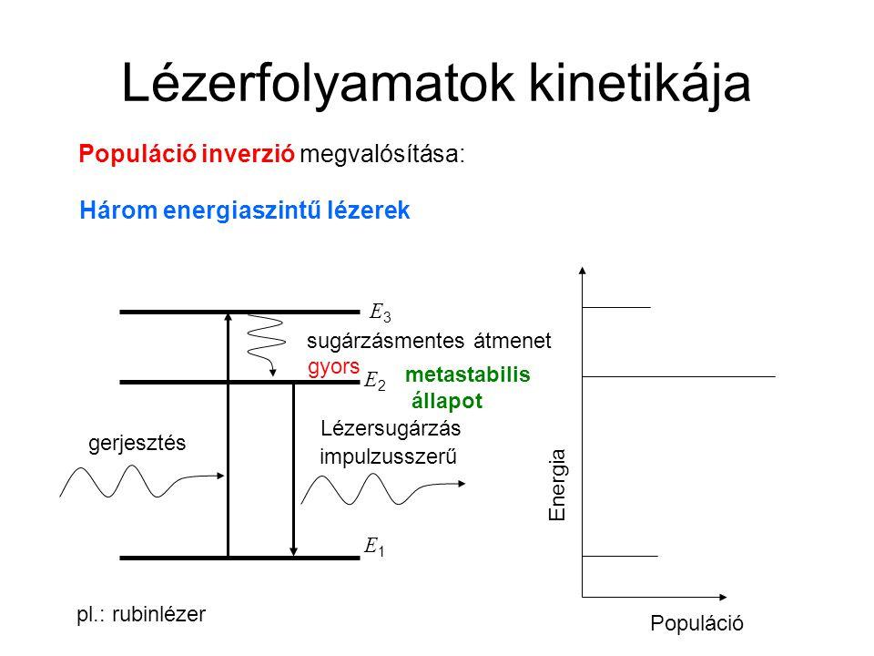 Lézerfolyamatok kinetikája Populáció inverzió megvalósítása: Három energiaszintű lézerek E1E1 E2E2 gerjesztés Lézersugárzás sugárzásmentes átmenet E3E3 Energia Populáció gyors pl.: rubinlézer impulzusszerű metastabilis állapot
