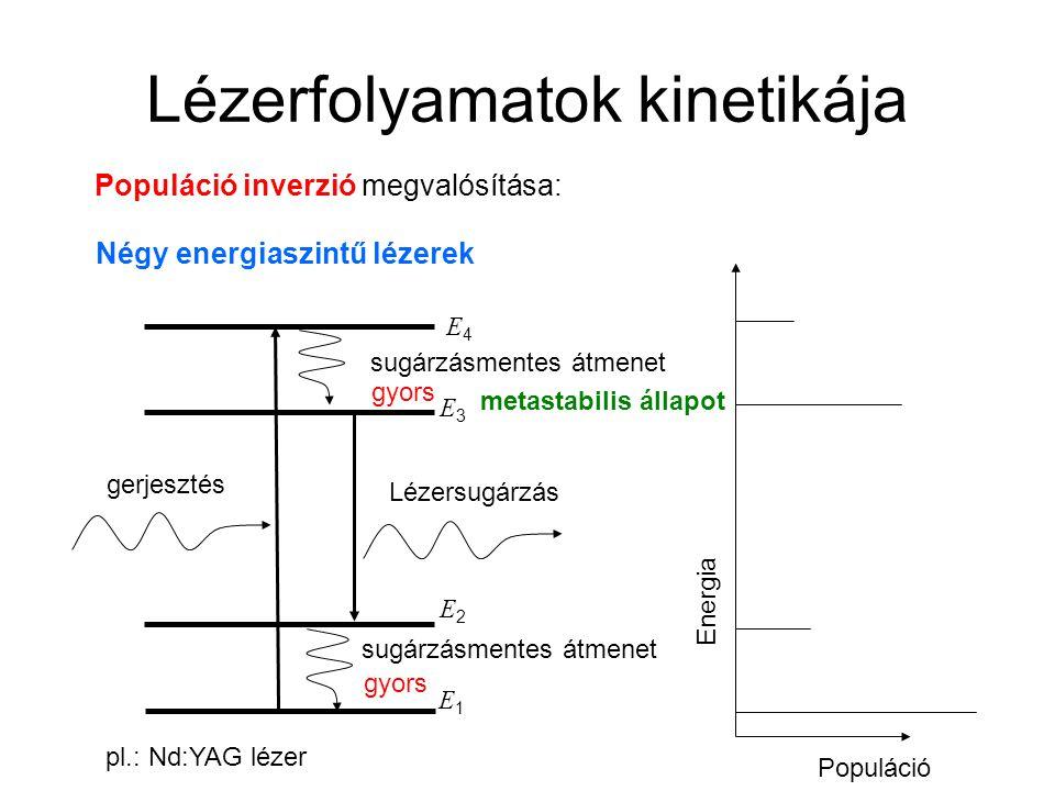 Lézerfolyamatok kinetikája Populáció inverzió megvalósítása: Négy energiaszintű lézerek E2E2 E3E3 gerjesztés Lézersugárzás sugárzásmentes átmenet E4E4 Energia Populáció gyors pl.: Nd:YAG lézer E1E1 sugárzásmentes átmenet gyors metastabilis állapot