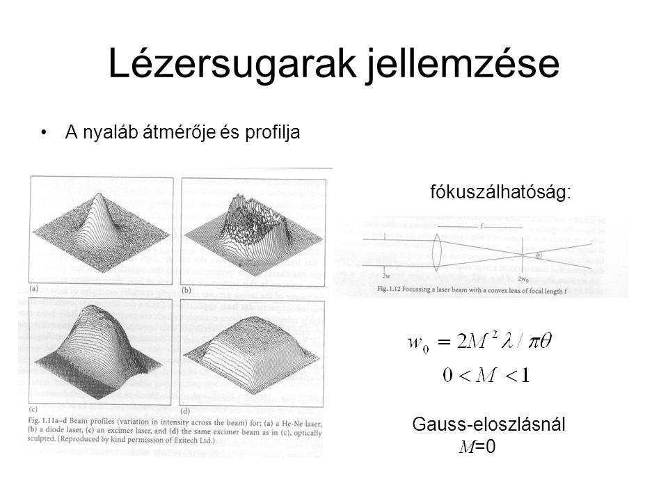 Lézersugarak jellemzése A nyaláb átmérője és profilja fókuszálhatóság: Gauss-eloszlásnál M =0