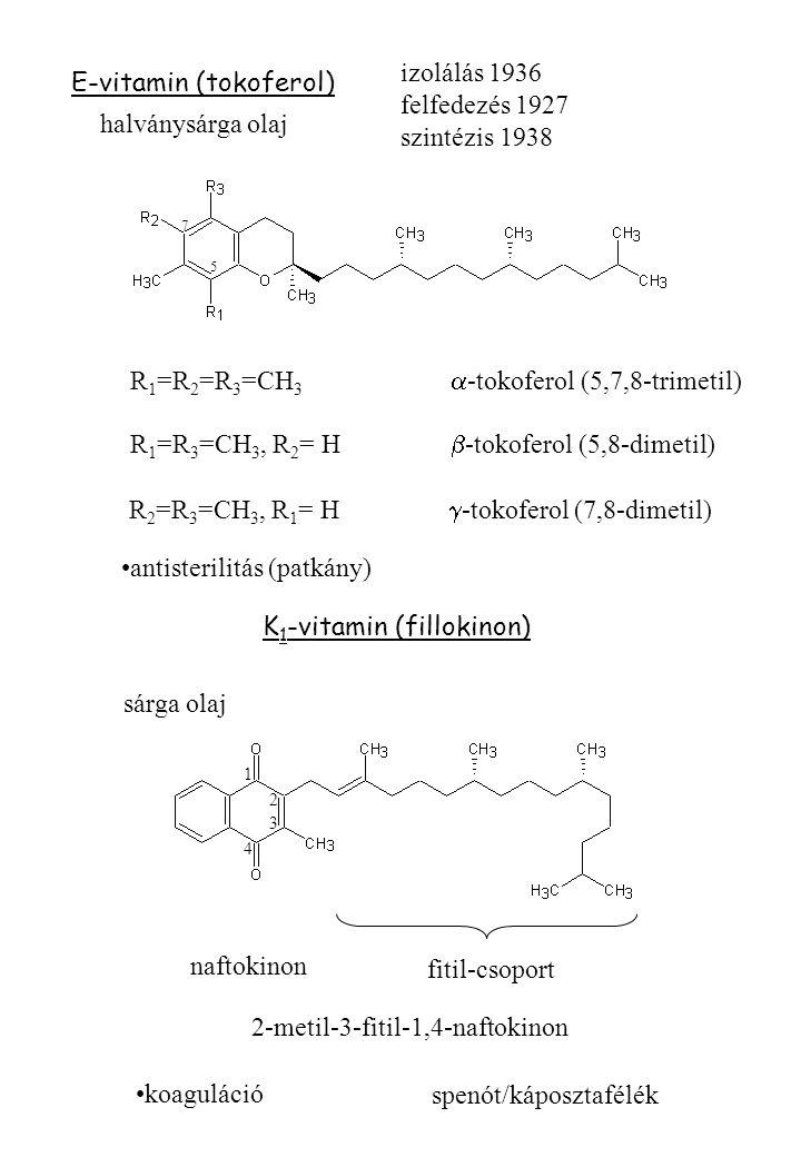 E-vitamin (tokoferol) izolálás 1936 felfedezés 1927 szintézis 1938 R 1 =R 2 =R 3 =CH 3  -tokoferol (5,7,8-trimetil) R 1 =R 3 =CH 3, R 2 = H  -tokoferol (5,8-dimetil) R 2 =R 3 =CH 3, R 1 = H  -tokoferol (7,8-dimetil) halványsárga olaj antisterilitás (patkány) K 1 -vitamin (fillokinon) sárga olaj 5 7 2 4 3 1 fitil-csoport naftokinon 2-metil-3-fitil-1,4-naftokinon koaguláció spenót/káposztafélék