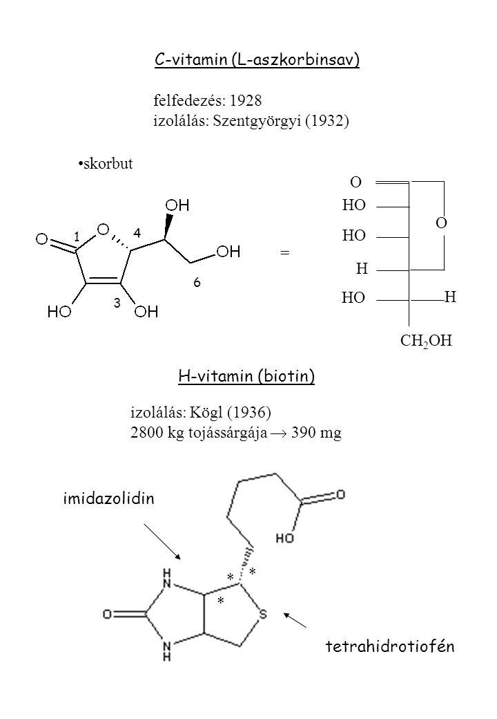 C-vitamin (L-aszkorbinsav) felfedezés: 1928 izolálás: Szentgyörgyi (1932) O O HO H H CH 2 OH = skorbut 1 3 4 6 H-vitamin (biotin) imidazolidin tetrahidrotiofén * * * izolálás: Kögl (1936) 2800 kg tojássárgája  390 mg