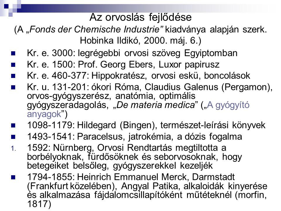 """Az orvoslás fejlődése (A """"Fonds der Chemische Industrie"""" kiadványa alapján szerk. Hobinka Ildikó, 2000. máj. 6.) Kr. e. 3000: legrégebbi orvosi szöveg"""