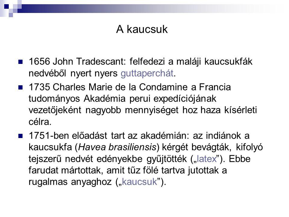 A kaucsuk 1656 John Tradescant: felfedezi a maláji kaucsukfák nedvéből nyert nyers guttaperchát. 1735 Charles Marie de la Condamine a Francia tudomány