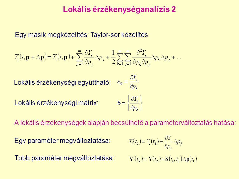 Lokális érzékenységanalízis 2 Lokális érzékenységi együttható: Lokális érzékenységi mátrix: Egy paraméter megváltoztatása: A lokális érzékenységek ala