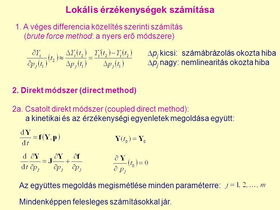 Az együttes megoldás megismétlése minden paraméterre: 1. A véges differencia közelítés szerinti számítás (brute force method: a nyers erő módszere) Lo
