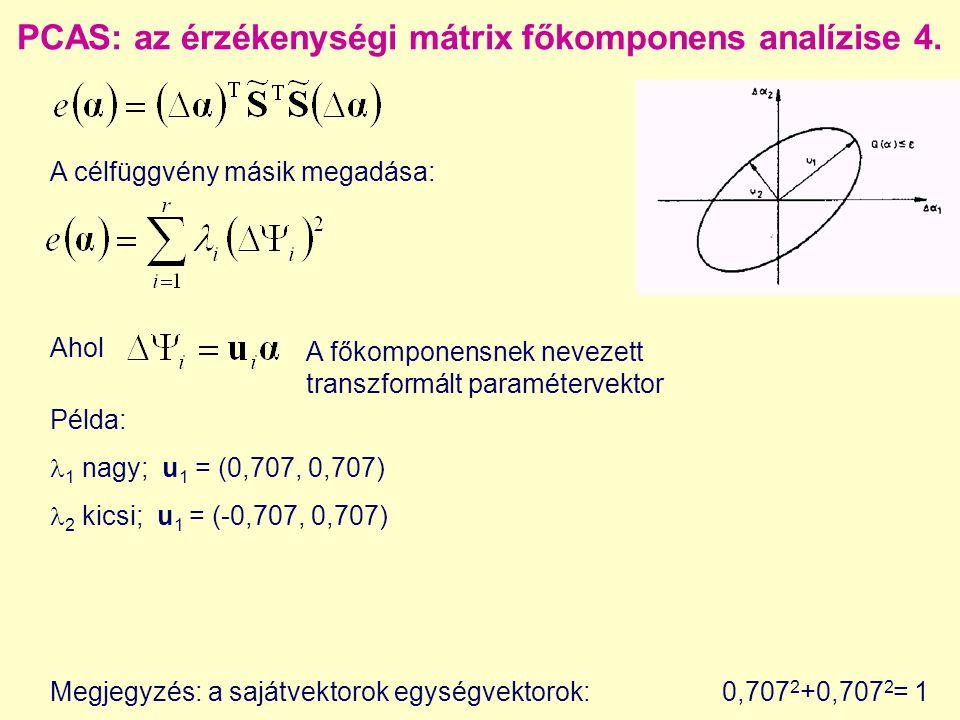 PCAS: az érzékenységi mátrix főkomponens analízise 4. A célfüggvény másik megadása: Példa: 1 nagy; u 1 = (0,707, 0,707) 2 kicsi; u 1 = (-0,707, 0,707)
