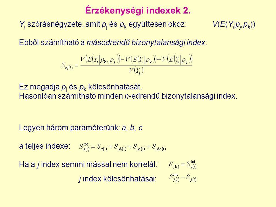 Érzékenységi indexek 2. Y i szórásnégyzete, amit p j és p k együttesen okoz:V(E(Y i  p j,p k )) Ebből számítható a másodrendű bizonytalansági index: