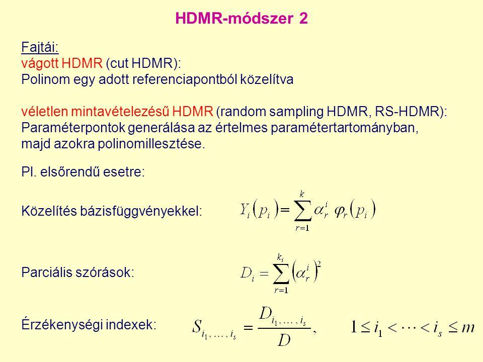 HDMR-módszer 2 Érzékenységi indexek: Fajtái: vágott HDMR (cut HDMR): Polinom egy adott referenciapontból közelítva véletlen mintavételezésű HDMR (rand