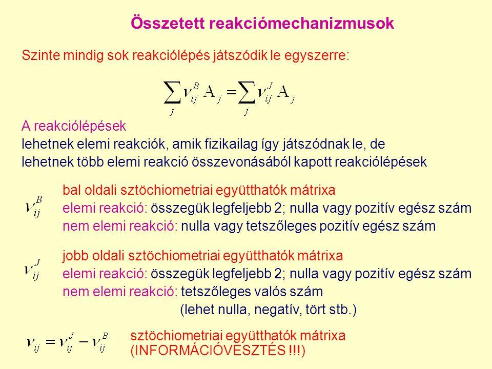 Összetett reakciómechanizmusok Szinte mindig sok reakciólépés játszódik le egyszerre: bal oldali sztöchiometriai együtthatók mátrixa elemi reakció: ös