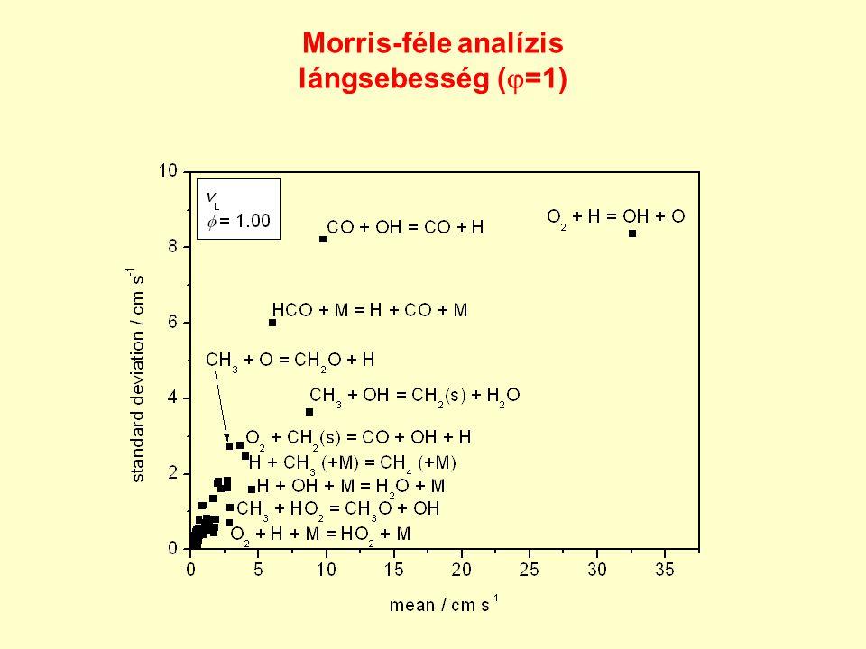 Morris-féle analízis lángsebesség (  =1)