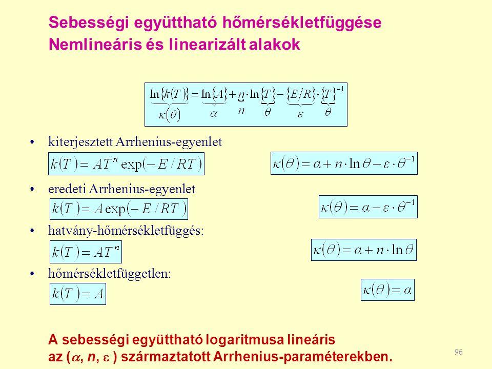 Sebességi együttható hőmérsékletfüggése Nemlineáris és linearizált alakok 96 kiterjesztett Arrhenius-egyenlet eredeti Arrhenius-egyenlet hatvány-hőmér
