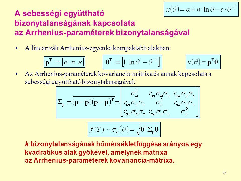 98 A sebességi együttható bizonytalanságának kapcsolata az Arrhenius-paraméterek bizonytalanságával A linearizált Arrhenius-egyenlet kompaktabb alakba