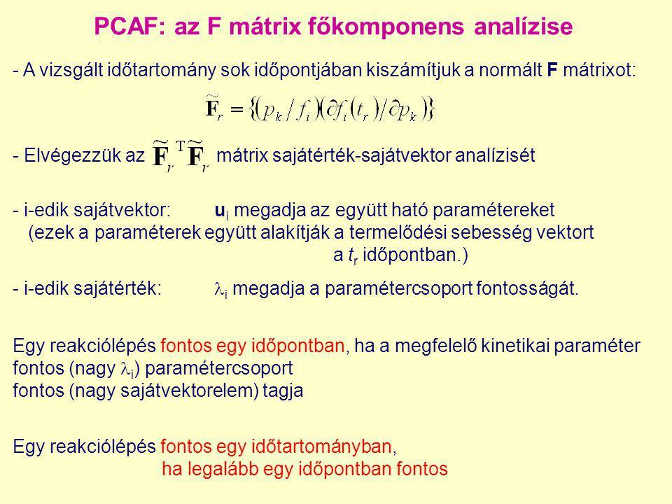 PCAF: az F mátrix főkomponens analízise - A vizsgált időtartomány sok időpontjában kiszámítjuk a normált F mátrixot: - Elvégezzük az mátrix sajátérték