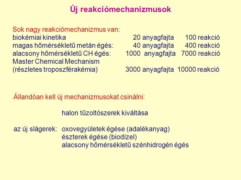 Sok nagy reakciómechanizmus van: biokémiai kinetika20 anyagfajta 100 reakció magas hőmérsékletű metán égés:40 anyagfajta 400 reakció alacsony hőmérsék
