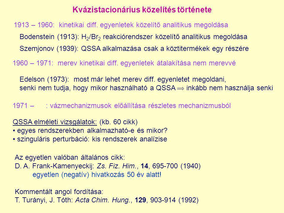 Kvázistacionárius közelítés története Bodenstein (1913): H 2 /Br 2 reakciórendszer közelítő analitikus megoldása Szemjonov (1939): QSSA alkalmazása cs