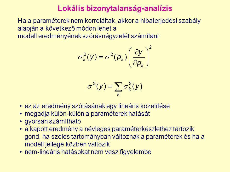 Lokális bizonytalanság-analízis Ha a paraméterek nem korreláltak, akkor a hibaterjedési szabály alapján a következő módon lehet a modell eredményének