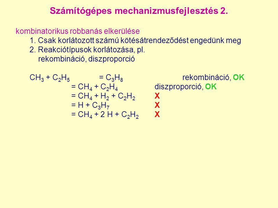 Számítógépes mechanizmusfejlesztés 2. kombinatorikus robbanás elkerülése 1. Csak korlátozott számú kötésátrendeződést engedünk meg 2. Reakciótípusok k