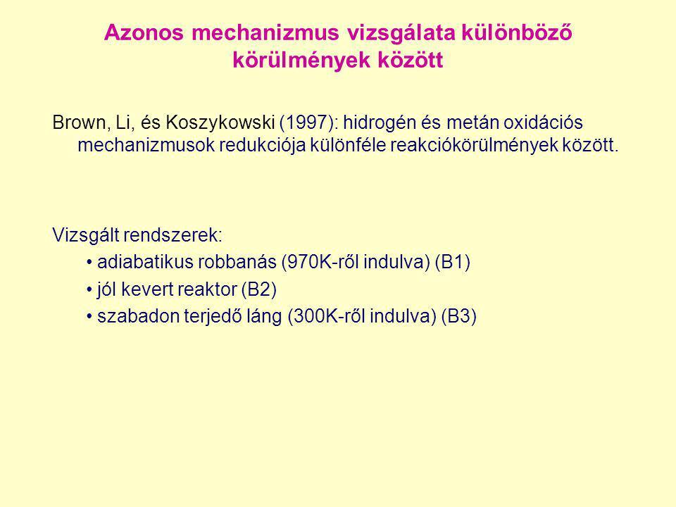 Azonos mechanizmus vizsgálata különböző körülmények között Brown, Li, és Koszykowski (1997): hidrogén és metán oxidációs mechanizmusok redukciója külö