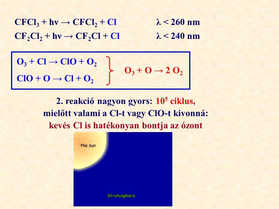 CFCl 3 + hν → CFCl 2 + Cl λ < 260 nm CF 2 Cl 2 + hν → CF 2 Cl + Cl λ < 240 nm O 3 + Cl → ClO + O 2 ClO + O → Cl + O 2 O 3 + O → 2 O 2 2.
